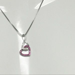 Jewelry - Sterling Silver Infinity&Heart Red&Cl CZ Necklace